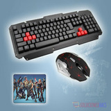 Kit Gamer Inalámbrico Teclado + Mouse + Pad Mouse