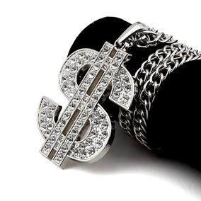 Silver Dollar Sign - Hombre Hip Hop Solitaire Plata Oro-8411 64083484e69