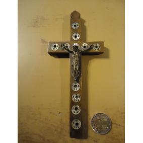 Crucifijo Del Peregrino Jerusalen Madera Y Nacar Antiguo N2