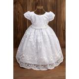 Vestido Batizado Bebê Menina Realeza Princesa Festa Branco
