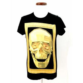 Playera Negra Craneo Mission Brand Gold Skull Glitter Style
