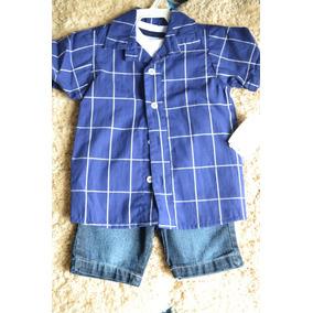 Conjunto Masculino Bermuda Jeans Camiseta Xadrez E Camiseta