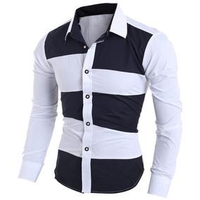 Camisa Social Masculina Listrada Branca E Preta 2 Duas Cores