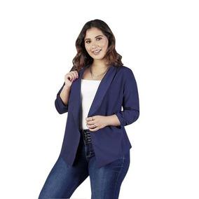 Saco Para Dama Color Azul Marino Sin Boton Sin Bolsas 015477