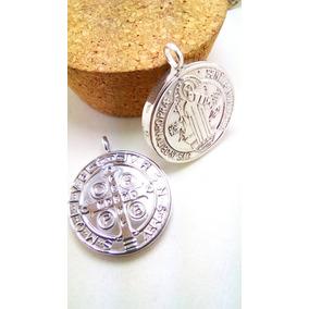Medalla Grande San Benito En Plata Fina .925 Doble Vista 3cm