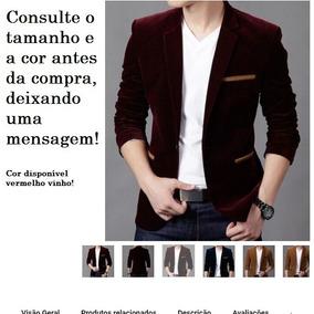 Blazer Slim Fit Luxo Casual Masculino Veludo (importado) 0781fbee70638