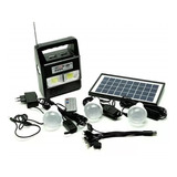 Kit Painel Placa Solar E Bateria 3 Bulbo Led + Radio Usb Mp3