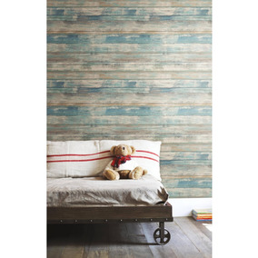 Papel Tapiz Para Pared Roommates Estilo Madera Azul Nuevo
