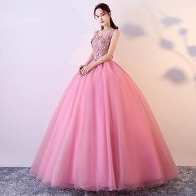 a3e8ac060a Vestido Quinceañera Princesa Apliqués Tira Bordada Xv Años