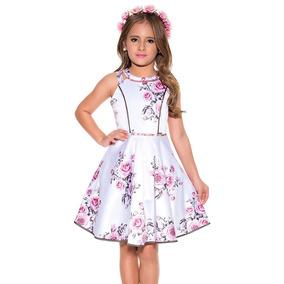 Roupa Infantil Vestido Luxo Diforini Estampado Floral Oferta