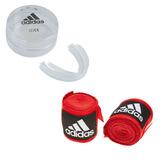 Kit Bandagem Vermelha Muay Thai / Boxe + Bucal adidas