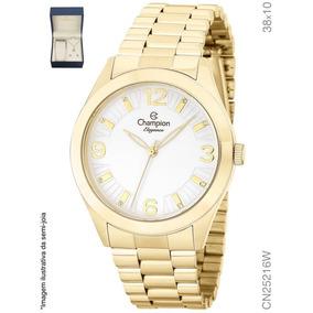 Relógio Feminino Dourado Champion Cn25216w + Colar E Brinco