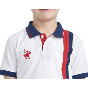 Playera York Team Polo Club Blanca Lineas Verticales Niño