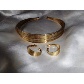 Elegante Conj.colar/brincos Vintage Dourados,itália,déc.80
