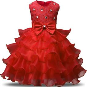 Vestido De Niña Rojo Bodas Fiestas Comunion Nnjxd