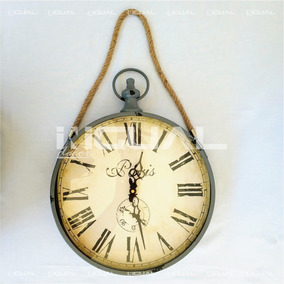 b8341bf207c Relógio Parede Decorativo Paris Alça Corda Cinza 61x36cm