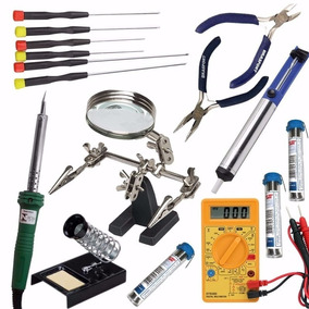 Kit Ferramentas Para Eletrônica Solda Lupa Multímetro 16 Pç