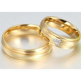 3682b6f5b24 Par De Alianças Casamento Noivado Banhada Ouro 6mm.com Pedra