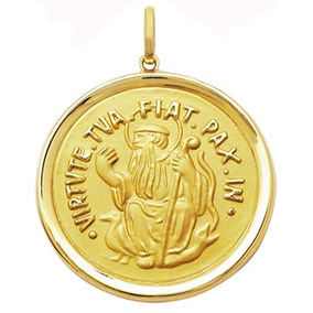 Pingente Em Ouro 18 Kilates Medalha São Bento Media - Pingentes no ... 9620a71233