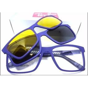 df8d082f2a124 Armação Oculos Grau Sol Masculino Rb2088 2 Clip On Lançament
