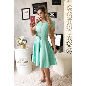 Vestido Rodado Godê Moda Evangélica Zíper Blogueira