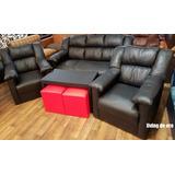 Sillon Sofa 3 +1+1 Mesa Y Puf Para Living