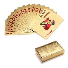 Baralho Dourado Poker Cartas Jogos Ideia Para Presente