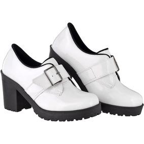 2401dbbdc Sapato Oxford Couro Marrom Feminino - Sapatos Branco no Mercado ...