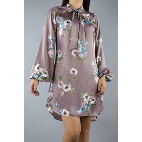 1fc3432354bf4 Vestido Silk Flores Mexicanas Moño Linea A Seda Silk Rosas