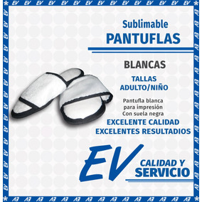 Pantufla Blanca Sublimable Sublimacion Adulto