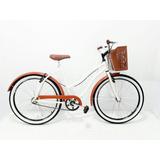 Bicicleta Aro 26 Retro Beach Feminina C/cesta Marrom Plast