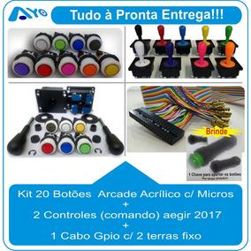 Kit 20 Botões Arcade + 02 Controles + Cabo Gpio C/ Terra