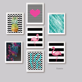 Kit Posters Tema Tropical Flamingo Abacaxi Abstrato