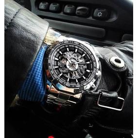 Relógio Masculino Prata Automático Skeleton Winner Original