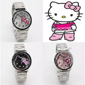 5 Piezas Reloj De Pulsera Hello Kitty Acero Inoxidable Dama