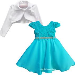 Vestido de dama branco com azul tiffany