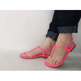 Sandalia Feminina Rasteira Pink Neon Rasteirinha Lisa Flat