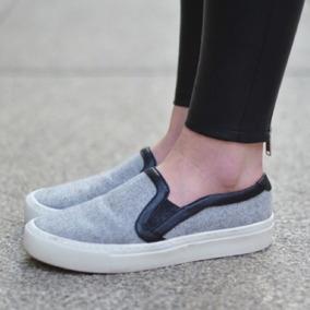 Tennis Sneakers Slip-ons Zara Tela Gris Piel Negra Flats
