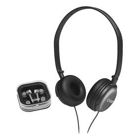 Kit Com 2 Fones De Ouvido (headphone + Earphone) Cv140 Coby