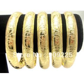 Set De 3 Pulseras Chapa Oro Bangle De Moda