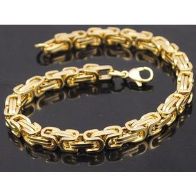 Pulseira Masculina Bracelete Banhada Ouro