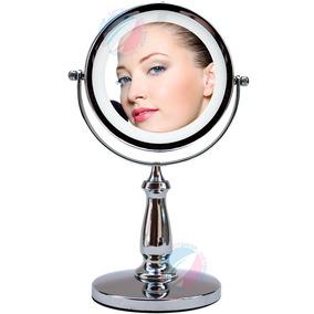 Lindo Espelho Com Luz Led Aumento 5x Dupla Face P/ Maquiagem