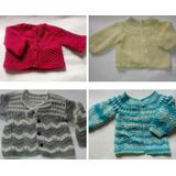 Kit C/3 Casaquinho Bebê Feito A Mão Artesanal Croche Tricot