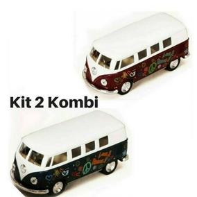 Kit 2 Miniatura Coleção Vw Kombi Combi 1962 Nacional 13 Cm