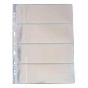 10 Folhas Plastico Cédula Acetato 3bzn 4 Divisões C/bolso