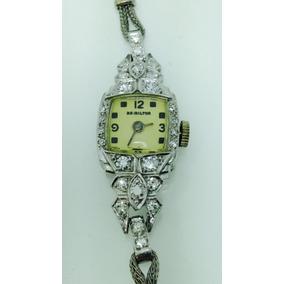 Reloj Hamilton P/dama De Platino Con Diamantes (inv 584)