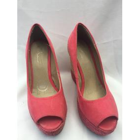 Zapatillas Con Plataforma Color Rosa-coral, Marca Lob