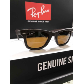 Óculos Rayban Wayfarer Rb2140-q-m 1153 n6 Polarizado Couro b2fe515c1e