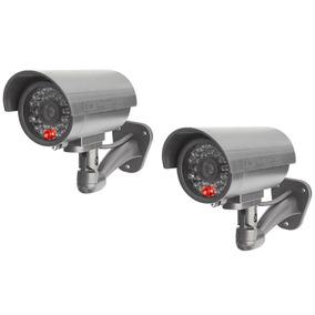 Kit 2 Camaras Vigilancia Seguridad Simulacion Tipo Bala 180º