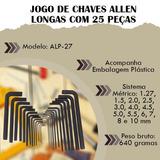 Chave Allen Longa 25 Pçs Manual Profissional Hexagonal Kit
